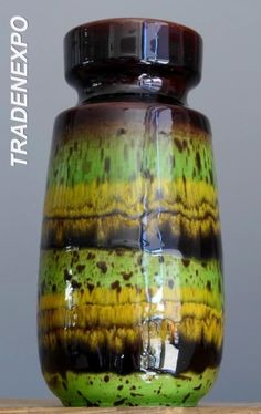 Vintage 60-70's SCHEURICH KERAMIK 242 Green Vase W.German Pottery Fat Lava Era