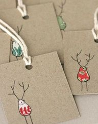 DIY Christmas gift tags using fabric scraps and a Sharpie marker
