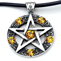 57E PEWTER Pagan OCTAGRAM 8 Point STAR Wiccan PENDANT