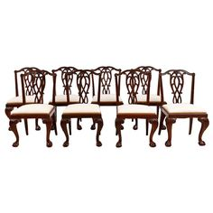 For Sale on - A very handsome set of 8 Chippendale-style dining chairs in mahogany with upholstered slip seats, China, circa The carvings are very well-articulated Dining Chair Set, Dining Room Chairs, Dining Room Furniture, Side Chairs, English Antique Furniture, Antique Chairs, Art Furniture, Modern Furniture, Sillas Chippendale
