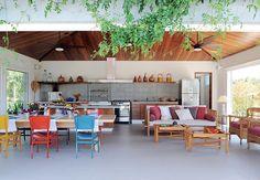 churrasqueira, branco, mix de cores, madeira, moderno