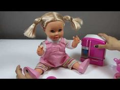 Doll Eating Yummy Toy Food and Drinking Milk with Toy Fridge