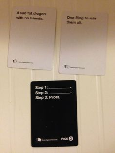 Cards Against Humanity: Plotline of the Hobbit in 3 cards