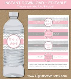 Give your party some style with these chevron water bottle labels!    Type your own text into these printable pink & gray chevron water bottle