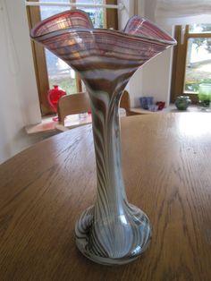 Vase Studioglas Erwin Eisch signiert Eisch 78 gekämmte Glasfäden