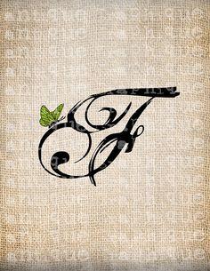 Antique Letter F Script Monogram Digital by AntiqueGraphique, Monogram Fonts, Monogram Letters, Love Letters, Doodle Lettering, Lettering Design, Typography, F Tattoo, Tattoo Fonts, Tattoo Alphabet