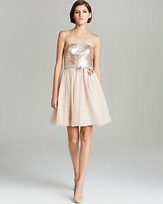 Aqua Beaded Strapless Dress