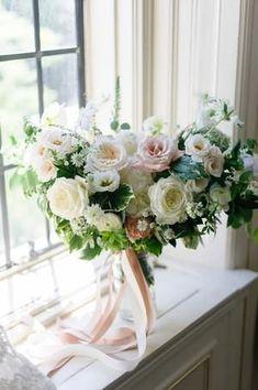 Classic With a Twist Toronto Wedding Romantic Wedding Flowers, White Wedding Bouquets, Wedding Flower Inspiration, Wedding Flower Arrangements, Bride Bouquets, Bridal Flowers, Bridesmaid Bouquet, Floral Wedding, Floral Arrangements