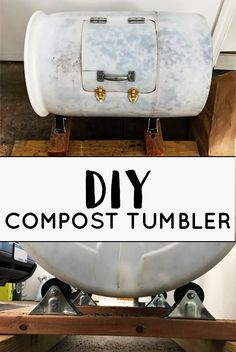 DIY Compost Tumbler PLUS Composting Basics DIY Compost Tumbler tutorial with materials list and composting tips Chickadees and Pinetrees Compost Diy, Diy Compost Tumbler, Compost Barrel, Composting At Home, Garden Compost, Composting Methods, Urban Survival, Wilderness Survival, Compost