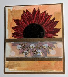 Overthinking the Sunflower Sympathy stamp set from CTMH | MaryGunnFunn.com  stamped dark fall floral card with water colored background
