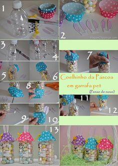 Coelhinho de garrafa pet. Diy Projects To Try, Projects For Kids, Craft Projects, Crafts For Kids, Reuse Plastic Bottles, Plastic Bottle Crafts, Birthday Gifts For Girls, Diy Birthday, Diy Arts And Crafts