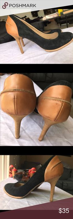 """Reaction Kenneth Cole high heels never worn Never worn size 10 high heels; black suede with brown leather backing. 3"""" heels. Open to offers! Kenneth Cole Reaction Shoes Heels"""