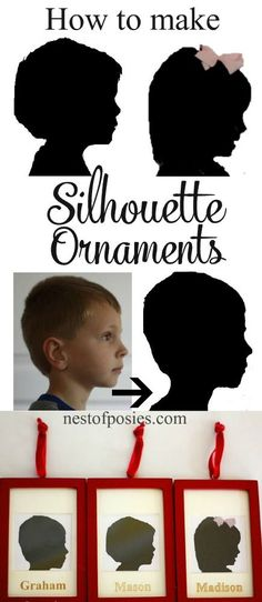 How to make Silhouette Ornaments. Easy & done in minutes. Great gifts for grandparents! How to make Silhouette Ornaments. Easy & done in minutes. Great gifts for grandparents! Christmas Projects, Holiday Crafts, Holiday Fun, Christmas Holidays, Christmas Ornaments, Spring Crafts, Christmas Gifts For Children To Make, Christmas Crafts To Sell Handmade Gifts, Christmas Crafts For Kids To Make
