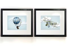 Birth Statistics Art Prints 2 8x10s  Plane and by PebblesPrints, $25.00