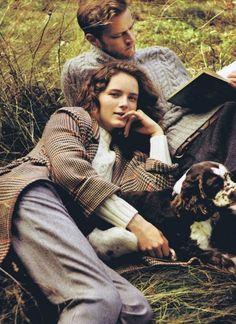 Fall + Sweater + Dog + Man reading a book = Love it!
