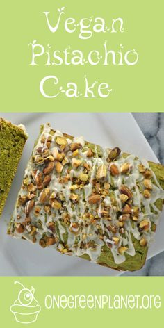 Pistachio Cake [Vegan] This cake has good-for-you ingredients like pistachios and spinach, is easy-to-make, doesn't require any fancy devices, and looks absolutely beautiful! Vegan Pistachio Cake, Cake Vegan, Pistachio Recipes, Pistachio Pudding, Vegan Treats, Vegan Foods, Vegan Dessert Recipes, Cooking Recipes, Easy Recipes