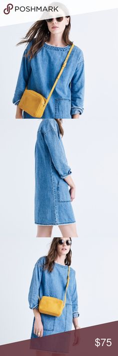 """madewell • denim raw-edge boatneck dress in excellent condition • a toss-on denim dress with a boatneck and oversized utility pockets • cool frayed edges give it that hemmed-it-yourself look • two pockets • nonwaisted • cotton/linen • approx. 33 1/4"""" in length • this is a reposh • the seller didn't disclose that it has a line through the tag • never been worn by me • first four stock photos • no trades Madewell Dresses"""