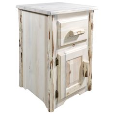 Montana End Table w/ Drawer & Door, Left Hinged, Clear Lacquer Finish End Tables For Sale, Cool Tables, Rustic End Tables, End Tables With Drawers, Bathroom Shop, Living Room Shop, Wooden Doors, Decoration, Storage Spaces