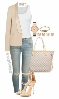 A fashion look from February 2016 featuring American Vintage tops, Vanessa Bruno blazers en Current/Elliott jeans. Browse and shop related looks. Mode Outfits, Fall Outfits, Fashion Outfits, Womens Fashion, Fashion Trends, Runway Fashion, 30 Outfits, Gucci Fashion, Blazer Outfits