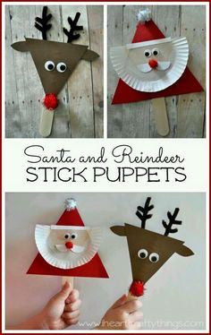DIY Santa and Reindeer stick puppet craft! Kids will love making these cute little Christmas puppets and can use them to retell their favorite Christmas stories. Preschool Christmas, Christmas Activities, Christmas Crafts For Kids, A Christmas Story, Christmas Projects, Christmas Themes, Kids Christmas, Holiday Crafts, Christmas Decorations