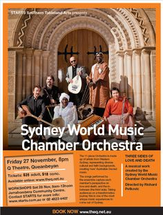 The Sydney World Music Chamber Orchestra will perform 'Three Sides of Love and Death' in #Queanbeyan. Workshops in vocal, strings, and percussion will follow - with beginner, intermediate, and advanced musicians alike all encouraged to join > Performance: Friday 27 November, Workshops: Saturday 28 November  #SouthernTablelandsArts