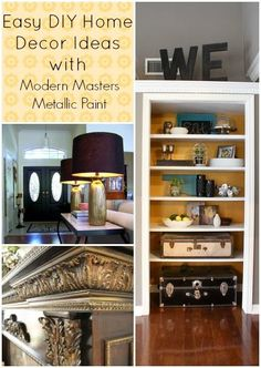 Easy DIY Home Decor Projects With Metallic Paint - We've compiled a few inspiring and easy DIY metallic paint projects for your home!  Take a look at what our f…