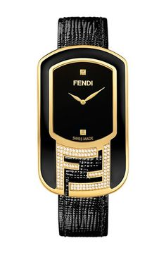 Fendi 'Chameleon' Leather Strap Watch, 29mm x 49mm