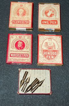 Four different pen nibs from the same company. Art Boxes, Box Art, Fountain Pen Nibs, Pencil Painting, Dip Pen, Leather Art, Writing Instruments, Crayons, Collections