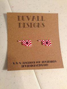 oklahoma chevron heart earring. thunder. okc. by duvdesigns, $7.00