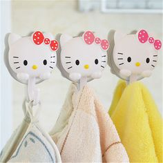 Hello Kitty Wall Hanger //Price: $5.99 & FREE Shipping // World of Hello Kitty http://worldofhellokitty.com/1-pair-hello-kitty-sucker-hook-storage-rack-wall-suction-hanger-towel-holder-bathroom-shelves-bathing-accessories-d3/    #collectibles