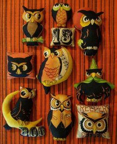 """Set of 10 Primitive Halloween Owl Ornies Tucks Bowl Fillers. 2"""" to 4"""" tall, $16/set.  This Etsy seller has some fun handmade Vintage-inspired Halloween items."""