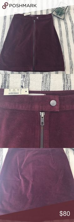 Madewell Maroon Zip Skirt Snap Closure with Full zip Front, Super comfortable being that to stretchy! i'm a 0/2 and this fits me! Madewell Skirts Mini