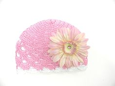Pink Baby Boutique - Pale Pink Daisy on Pink Scalloped Crochet Hat, $29.00 (http://www.pinkbabyboutique.com/pale-pink-daisy-on-pink-scalloped-crochet-hat/)