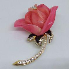 Signed KJL KENNETH JAY LANE Vintage ROSE FLOWER BROOCH Pink Lucite Rhinestone   eBay