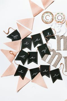 Wooden Chalkboard Pennants for Décor Table Signage perfect for any type of party.