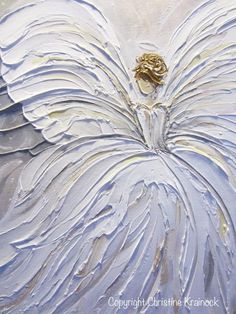 """""""Her Angel"""" ORIGINAL art abstract guardian angel painting white silver grey pale gold modern textured palette knife figurative contemporary spiritual wall art d"""