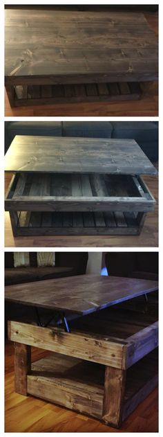 Love this rustic coffee table with hidden lift top mechanics! Beautiful and useful!