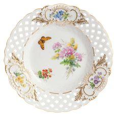 Teller, durchbr., Blume naturalistisch, m.Schmetterling, Schilderorn.goldstaff., Goldr., ø 21 cm