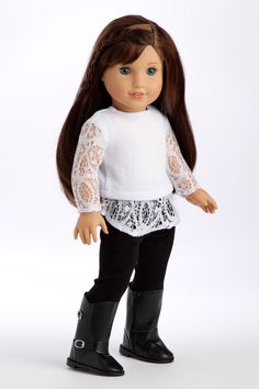 White cotton tunic with lace sleeves and hem with back velvet leggings and high black boots. - Doll outfit contains a wide back closure for easy dressing and clothing removal. - Our doll clothes fits