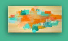 Turquoise and Orange Abstract Acrylic Art Painting by orabirenbaum, $345.00