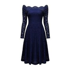 Rotita Lace Scalloped Neckline Long Sleeve High Waist Dress ($39) ❤ liked on Polyvore featuring dresses, navy blue, lace sleeve dress, long-sleeve maxi dresses, lace dress, navy blue knee length dress and blue dress
