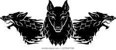 Crest Tattoo, Two Wolves, Werewolf Art, Nautical Flags, Occult Art, Vintage Silhouette, Hades, Portfolio, Line Art
