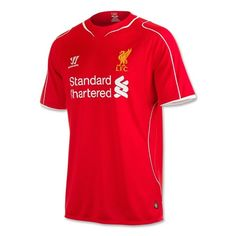 Liverpool New Home Enthusiastic Red Jersey. Its main color is red with white and yellow details. Liverpool's emblem is on the left side, on yellow. The manufacturer's logo is on the right side. Liverpool Fc Shirt, Liverpool Home, Irish Rugby Shirt, Ireland Rugby, Warrior Logo, Football Kits, Jersey Shirt, Work Casual, Sport Outfits