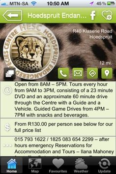 """Hoedspruit Endangered Species Centre is a hAPPy activity - a """"what to do"""" listing on the Hoedspruit Info App"""