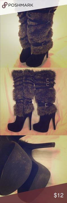 Fur Boots Sexy FustFab Black Buckle Heels FustFab heeled boots size 7💕 barely used. Smells like the factory still. 💕 super sexy and warm. Zips up on the insides. Has buckles on the outside 💕 JustFab Shoes Heeled Boots