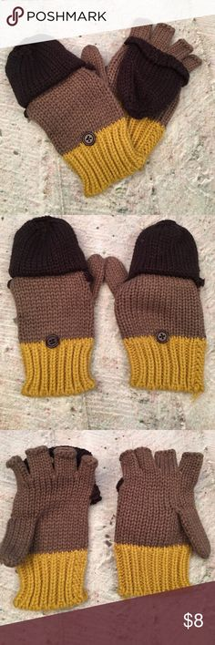Brown and yellow gloves! Great condition! Soft and cozy! Accessories Gloves & Mittens