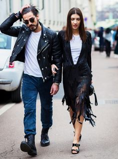 On left, a white t-shirt, suede pants, boots, and a leather jacket, on right, a fringe dress is worn over a white t-shirt, shorts, and slide heels