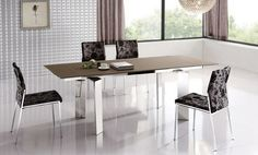 Modern Chic Dining Room Design with Stainless Legs Rectangular Dining Table and Flowery Velvet Upholstered Chairs