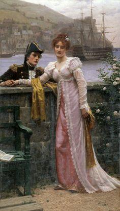 "Edmund Blair Leighton - ""Adieu"", 1901. #classic #art #painting"