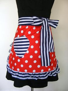 Retro Apron Red White Blue Striped Polka by BronteApronsNVintage on etsy.